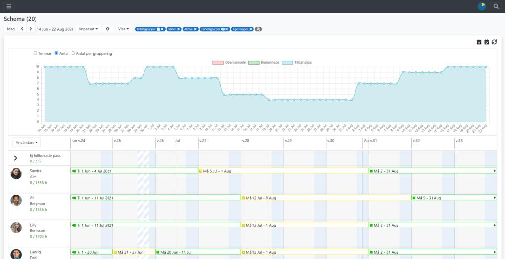 SwedeTimes system visar en graf